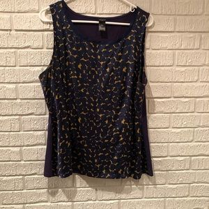 Ann Taylor navy blue and gold geometric print top